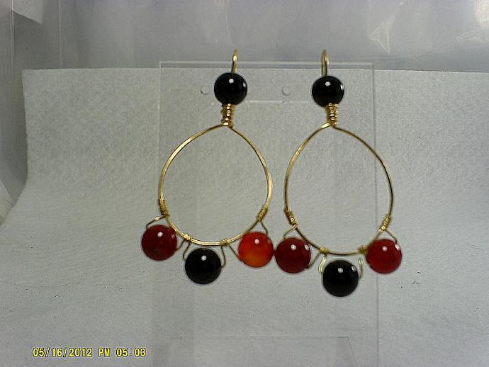 Gold Agate Hoop Earrings-Item # 0128