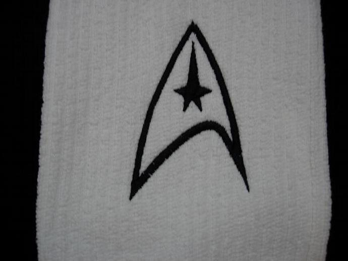 Star Trek - Command Logo Embroidered on White Kitchen - Bar Towel black trim