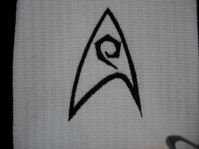 Star Trek - Engineering Logo Embroidered on White Kitchen - Bar Towel black trim