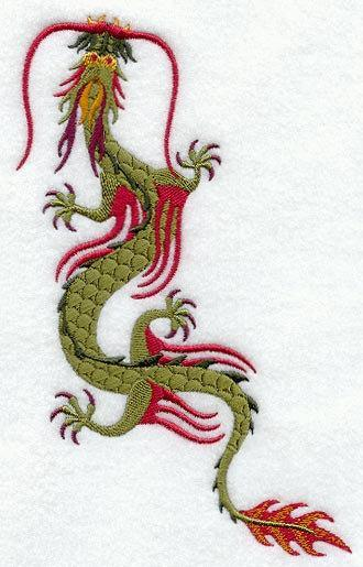 1 Embroidered Flour Sack Towel - Chinese Dragon
