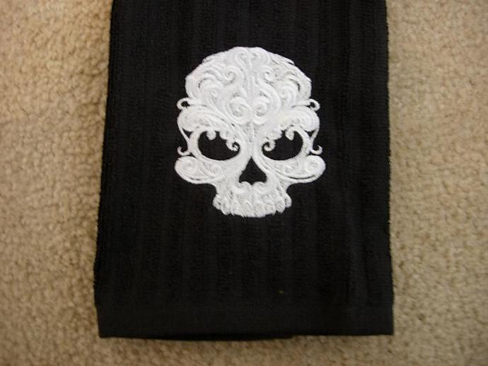 Gothic Skull embroidered into a Black Kitchen - Hand Towel