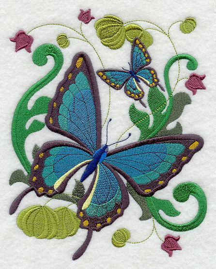 Victorian Butterfly (design 6)  Embroidered Quilt Block Square