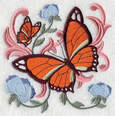 Victorian Butterfly (design 5)  Embroidered Quilt Block Square