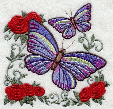 Victorian Butterfly (design 3)  Embroidered Quilt Block Square