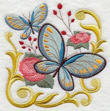 Victorian Butterfly (design 1)  Embroidered Quilt Block Square