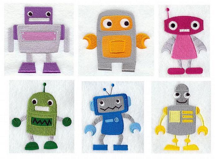 Little Robots (6 Blocks) Embroidered Quilt Blocks, Unique