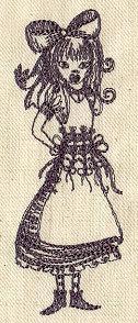 1 Kitchen Bar Towel - Embroidered Alice in Wonderland Alice Gothic design
