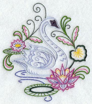 Vintage Serene Swan (1 Block) Embroidered Quilt Square