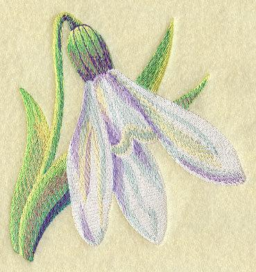 Watercolor Snowdrop (1 Block) Embroidered Quilt Block
