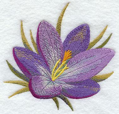 Watercolor Crocus (1 Block) Embroidered Quilt Block