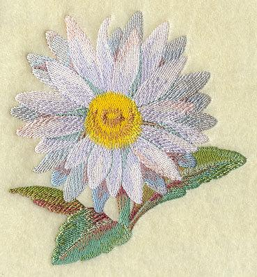 Watercolor Daisy (1 Block) Embroidered Quilt Block