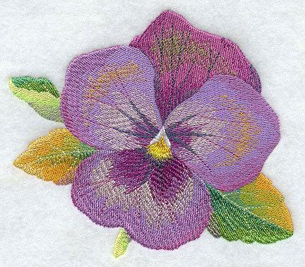 Watercolor Pansy (1 Block) Embroidered Quilt Block