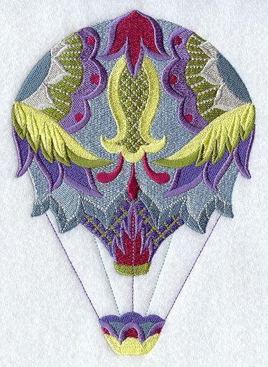 Cool Breeze Jacobean Hot Air Balloon (1 Block) Embroidered Quilt Block 5x7