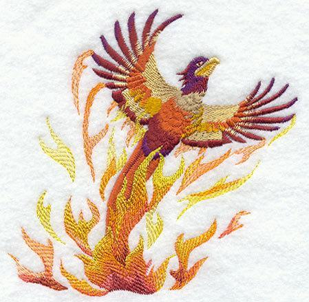 The Mystical Phoenix (1 Block) Embroidered Quilt Block 6x6