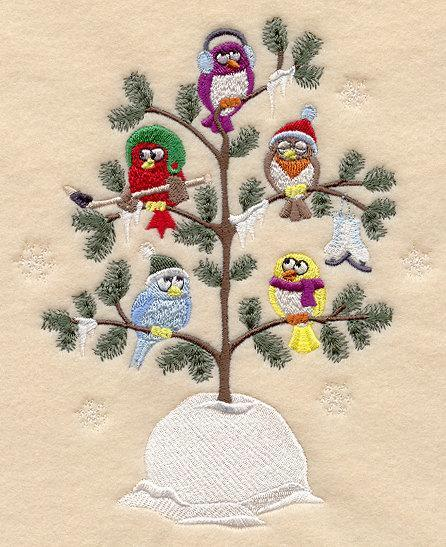 Frostry Winter Christmas Birds in a Tree (Tweet) Embroidered Quilt Block Square