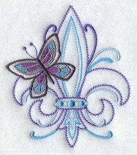 1 Embroidered Flour Sack Towel - Fleur de lis and Butterfly