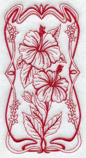1 Embroidered Flour Sack Towel - Art Nouveau Hibiscus