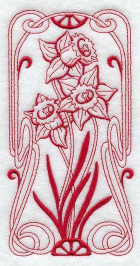 1 Embroidered Flour Sack Towel - Art Nouveau Daffodil