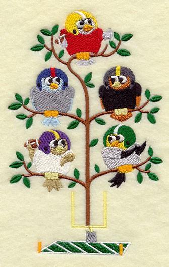 Football Birds in a Tree Embroidered Quilt Block 5x7