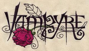 1 Flour Sack Towel - Embroidered Vampyre & Rose, gothic design