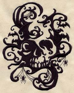 1 Flour Sack Towel - Embroidered Shadowed Skull, gothic design