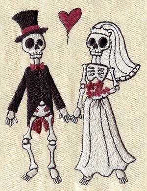 1 Flour Sack Towel - Embroidered Skeleton Wedding Couple (Bride & Groom), gothic