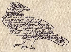 1 Kitchen Bar Towel - Embroidered Raven with Poe Quote, gothic design