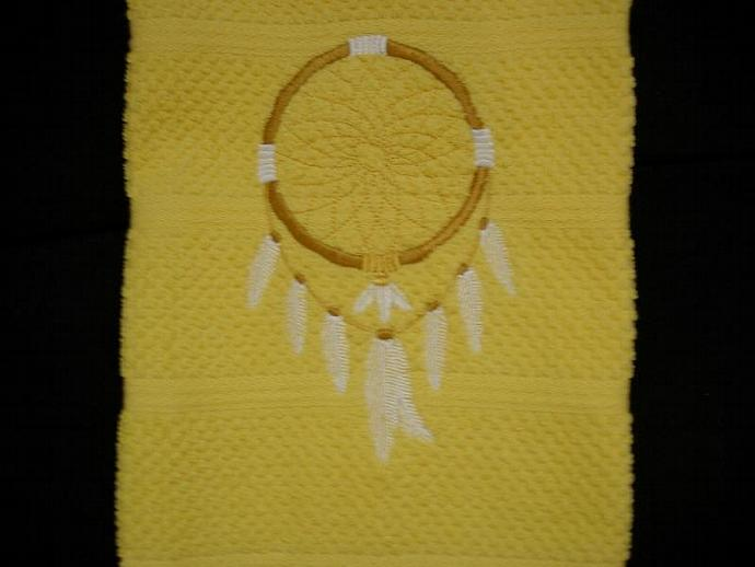 1 Yellow Kitchen or Hand Towel - Embroidered Dream Catcher with White Feathers