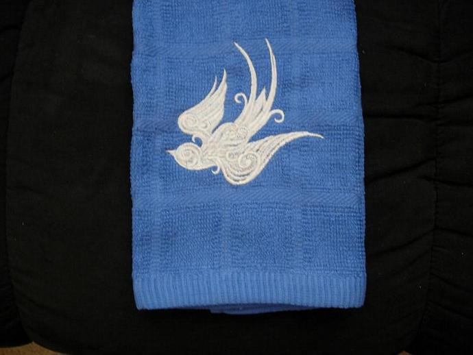 Embroidered Gothic Swallow (bird) on Blue Kitchen or Hand Towel