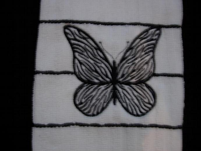Zebra Butterfly embroidered on a White with black strips Kitchen - Hand Towel