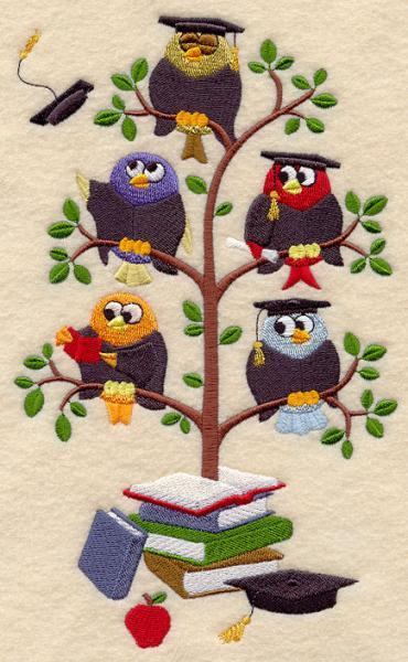 Graduation Birds in a Tree (1) Embroidered Quilt Block Square 5x7