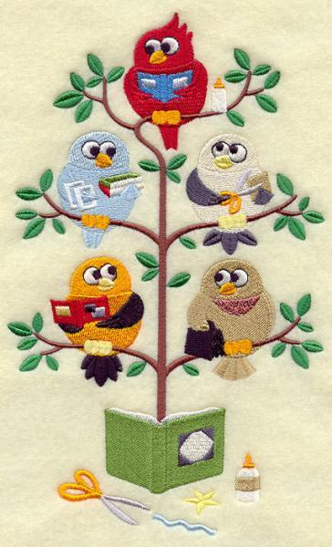 Scrapbooking Birds in a Tree (1 Block) Embroidered Quilt Block Square 5x7