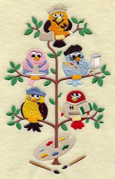 Artistic Birds in a Tree (1 Block) Embroidered Quilt Block Square 5x7