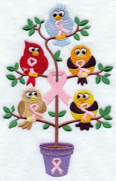 Breast Cancer Awareness Birds in a Tree (1) Embroidered Quilt Block Square 5x7