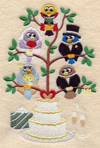 Wedding Day Birds in a Tree (1 Block) Embroidered Quilt Block Square 5x7