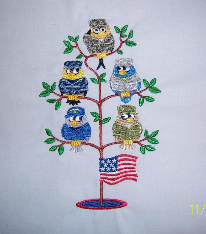 USA Military Troops as Birds in a Tree (1) Embroidered Quilt Block Square 5x7