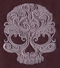 Baroque Punk Skull (1 Block) Embroidered Quilt Block, 4x4