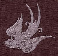 Baroque Punk Swallow Embroidered Quilt Block, 4x4