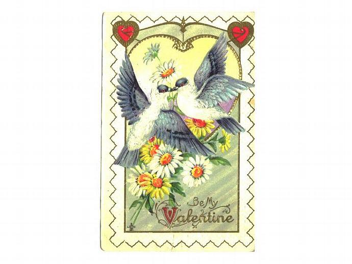Vintage 1910s Valentine Greetings Postcard Love Birds Daisy Hearts