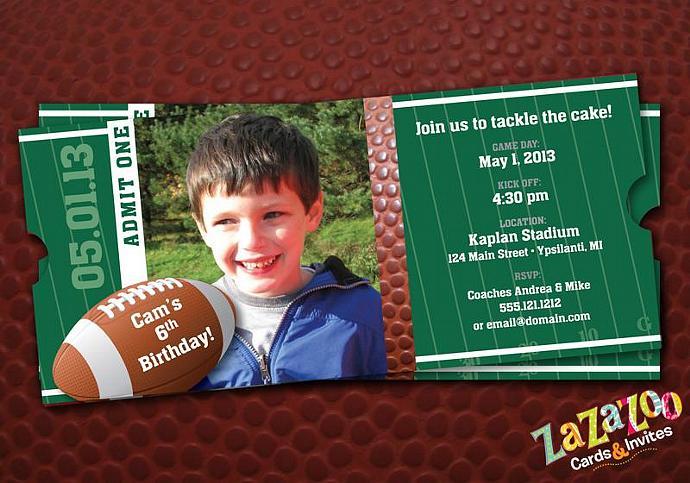Football sports ticket shaped photo birthday by zazazoocards on zibbet football sports ticket shaped photo birthday invitation set of 25 filmwisefo