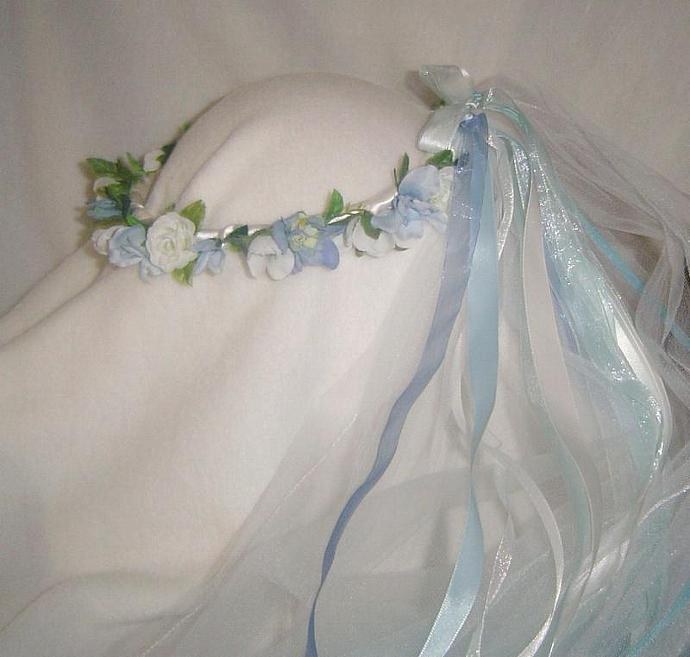 Kya  wedding Head wreath Sweet soft light blue and white with veil / Small Blue