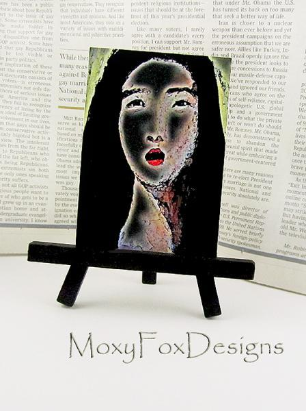 ACEO Fine Art Print Woman Portrait Passion Sultry Sexy Darkness Irresistible