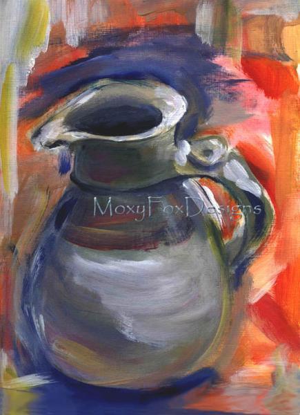 Art -- WHIDBEY ISLAND JAR Pottery Jar Clay Pitcher Blue Orange Kitchen Décor