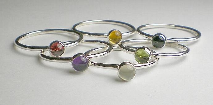 SS Gemstone Stack Rings