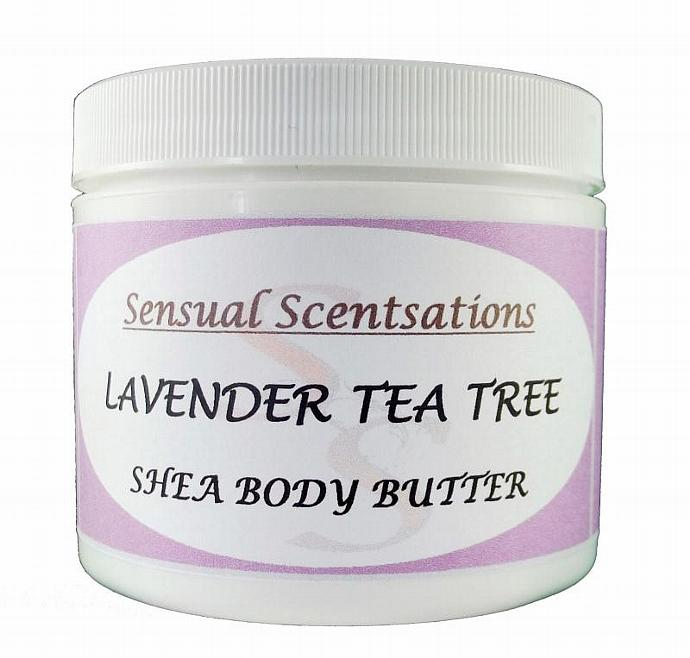 Body Butter Lavender Tea Tree Esential Oils Whipped Shea Butter 4oz All Natural