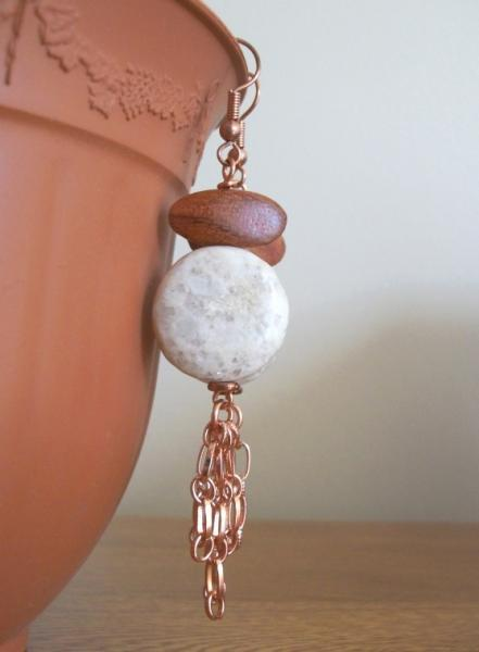 Weekly Special!  Was $22  Wood, Stone and Copper Handmade Dangle Earrings