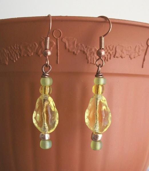 OOAK Czech Firepolish Copper Dangle Earrings in Yellow