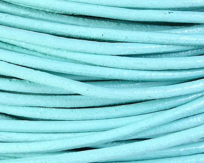2mm blue Aquamarine cowhide round leather cord 10 feet (622)