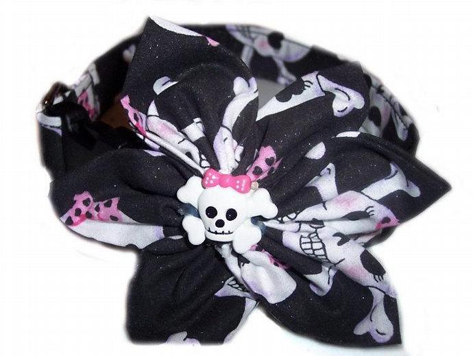 Pirate Princess Skull Crossbones Dog Pet Puppy Cat Collar, Fun Blossom Flower