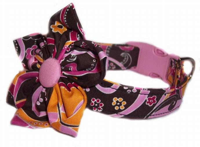 Orange Pink Brown Paisley Floral dog cat pet puppy collar blossom flower bow xs